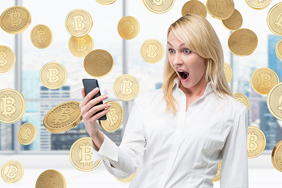 Surprised Woman and Bitcoins